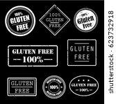 gluten free grunge rubber... | Shutterstock .eps vector #623732918