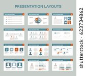 set of 12 presentation layouts... | Shutterstock .eps vector #623734862