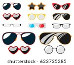 fashion set sunglasses... | Shutterstock .eps vector #623735285