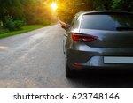 car on asphalt road in nature. ... | Shutterstock . vector #623748146