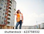 engineer builder woman in... | Shutterstock . vector #623758532
