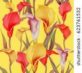seamless calla lilly flower... | Shutterstock . vector #623761532