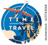 time to travel and summer... | Shutterstock .eps vector #623763068