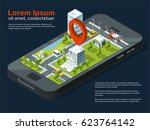 vector 3d city concept picture. ... | Shutterstock .eps vector #623764142