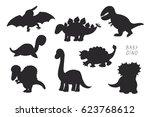 baby dinosaurs cute vector... | Shutterstock .eps vector #623768612