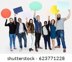 group of diverse people holding ... | Shutterstock . vector #623771228