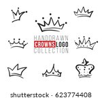 hand drawn crown logo collection | Shutterstock .eps vector #623774408