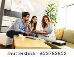 female real estate agent offer... | Shutterstock . vector #623783852
