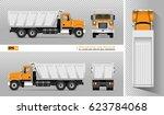 vector dump truck. tipper lorry ... | Shutterstock .eps vector #623784068