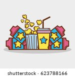 cinema with popcorn  soda and... | Shutterstock .eps vector #623788166