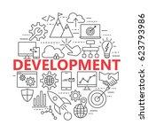 seo and development icon set.... | Shutterstock . vector #623793986