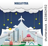 malaysia travel background... | Shutterstock .eps vector #623802452