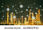 oil refinery at twilight with... | Shutterstock . vector #623802932