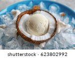 Half Of Coconut With Fresh Ice...