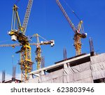 construction site with cranes... | Shutterstock . vector #623803946