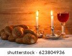 low key shabbat image. challah... | Shutterstock . vector #623804936