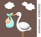 stork with baby  | Shutterstock . vector #623822522