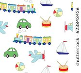 Seamless Pattern With Toys For...