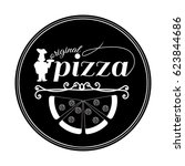 pizza logo with chief and... | Shutterstock . vector #623844686