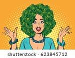 eco woman hair green plants... | Shutterstock .eps vector #623845712