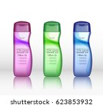 set of realistic shampoo bottle ... | Shutterstock .eps vector #623853932