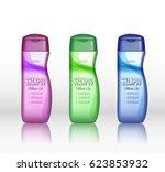 set of realistic shampoo bottle ...   Shutterstock .eps vector #623853932