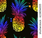 pineapple tropical fruit.... | Shutterstock .eps vector #623856035