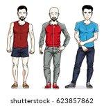 handsome young men standing... | Shutterstock . vector #623857862