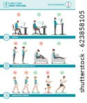 body ergonomics infographic ... | Shutterstock .eps vector #623858105
