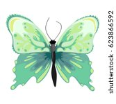 Green Exotic Butterfly. Vector...