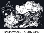 a drawn whale with solar system ... | Shutterstock .eps vector #623879342