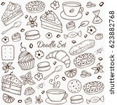 coffee and bakery hand drawn... | Shutterstock .eps vector #623882768