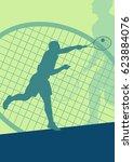 tennis player male vector... | Shutterstock .eps vector #623884076