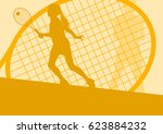 tennis player female vector... | Shutterstock .eps vector #623884232