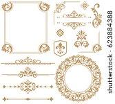 vintage vector set. floral... | Shutterstock .eps vector #623884388