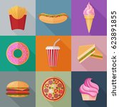 colorful fastfood flat icons on ... | Shutterstock .eps vector #623891855