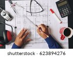 civil engineer using triangle... | Shutterstock . vector #623894276