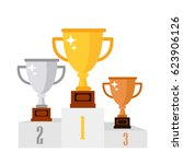 gold  silver  bronze cup. cup... | Shutterstock .eps vector #623906126