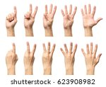 male hands counting from one to ... | Shutterstock . vector #623908982