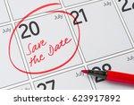 save the date written on a... | Shutterstock . vector #623917892