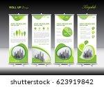 green roll up banner template... | Shutterstock .eps vector #623919842