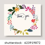 Stock vector vintage wedding flowers invitation card 623919872