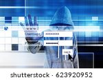 computer hacker or cyber attack ... | Shutterstock . vector #623920952
