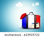france  vintage suitcase with... | Shutterstock . vector #623925722