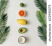 creative layout made of summer... | Shutterstock . vector #623930375