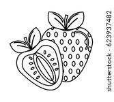 silhouette strawberry fruit... | Shutterstock .eps vector #623937482