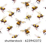 Seamless Bumblebee Watercolor...