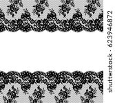 seamless vector black lace... | Shutterstock .eps vector #623946872