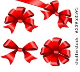 red bows set. isolated on a... | Shutterstock .eps vector #623953595