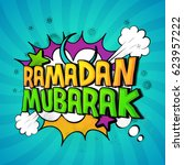 ramadan mubarak text design in... | Shutterstock .eps vector #623957222